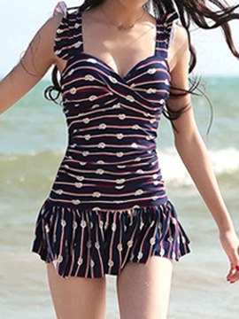 Ericdress Printed Pleated Swimwear