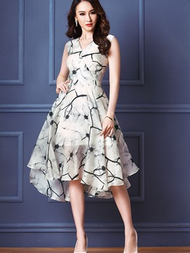 Ericdress Chiffon Asymmetrical Expansion Dress