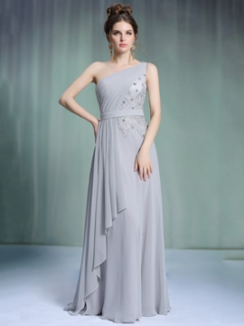 Ericdress One-Shoulder Appliques Beaded Evening Dress