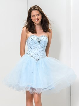 Ericdress A-Line Sweetheart Corset Beaded Short Homecoming Dress