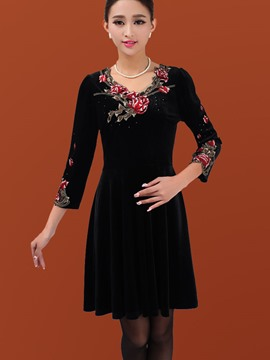 Ericdress Embroidery Black Casual Dress