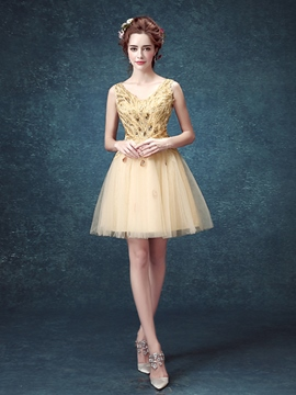 Ericdress V-Neck A-Line Appliques Mini Homecoming Dress