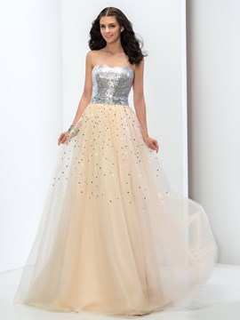Ericdress Sweetheart A-Line Sequins Beaded Floor-Length Prom Dress