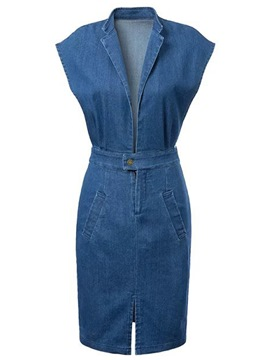 Ericdress Slit Denim Bodycon Dress