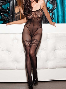 Ericdress Black Lace and Mesh See-Through Pantyhose