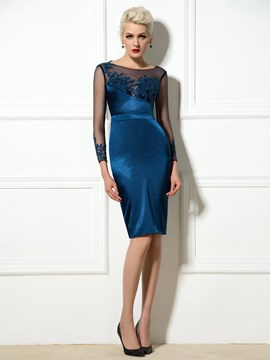 Ericdress Long Sleeve Appliques Knee-Length Cocktail Dress