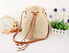 Ericdress Tassel Straw Knitted Bucket Tote Bag