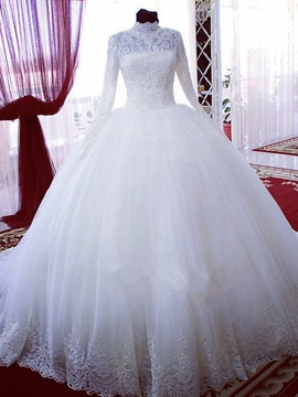 Ericdress Elegant High Neck Long Sleeves Wedding Dress