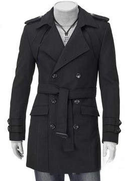 Ericdress Plain Double-Breasted With Belt Men's Woollen Coat