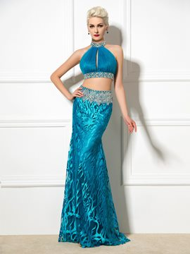 Ericdress Two-Piece Open Back Sequins Long Evening Dress