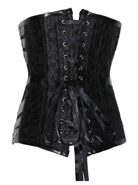 Ericdress Black PU Chain Corset