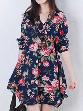 Ericdress V-Neck Ethnic Casual Dress