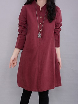 Ericdress Plain Pocket Long Sleeve Casual Dress