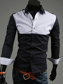 Ericdress Color Block Casual Men's Shirt