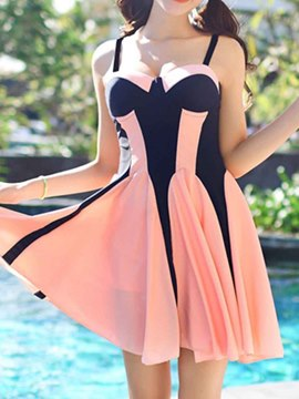 Ericdress Patched Color Blcok Swimwear
