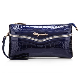 Ericdress Shining Diamond Alligator Clutch