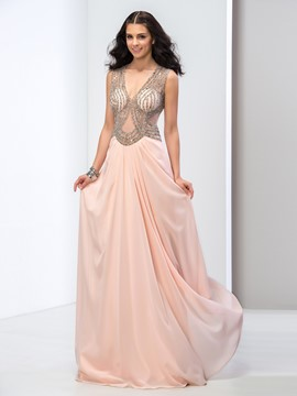 Ericdress Deep-V Neck Open Back Sequins Long Prom Dress