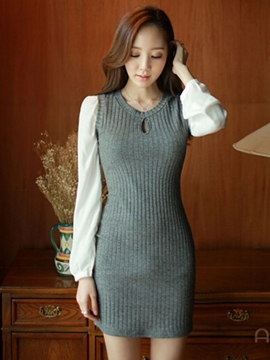 Ericdress Patchwork Knit Bodycon Dress