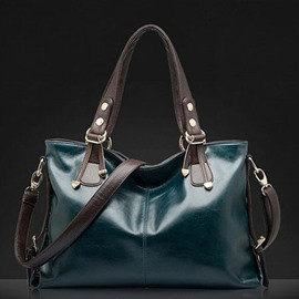 Ericdress Solid Color Waxy Leather Tote Bag