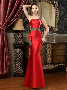 Ericdress One-Shoulder Appliques Sheath Evening Dress