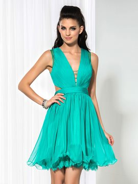 Ericdress A-Line Deep-V Neck Ruffles Cocktail Dress