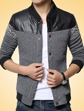 Ericdress PU Patched Stand Collar Men's Jacket
