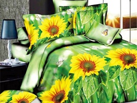 Ericdress Butterfly on Sunflower Print 3D Bedding Sets