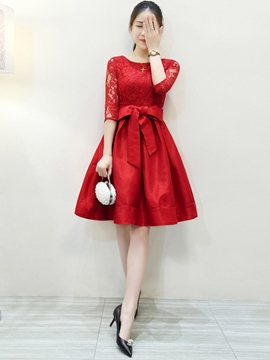 Ericdress Lace Patchwork Half Sleeve Casual Dress