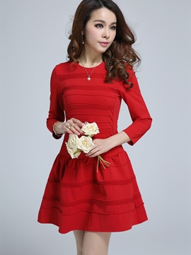 Ericdress Three-Quarter Sleeve Pleated Casual Dress