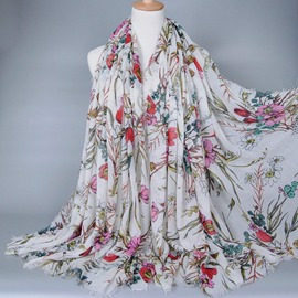 Bohemian Style Flowery Voile Scarf