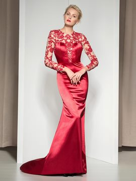 Ericdress Long Sleeves Appliques Sheath Evening Dress