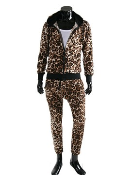 Ericdress Leopard Zip Hooded Men's Sports Suit