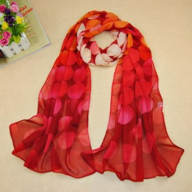 Concise Doughnut Pattern Printed Chiffon Scarf