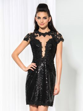 Ericdress Short Sleeve Sequins Appliques Sheath Cocktail Dress