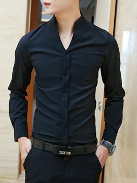 Ericdress Solid Color V-Neck Men's Shirt