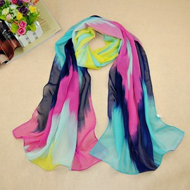 Unique Color Matching Decorated Vogue Chiffon Scarf