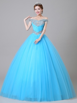 Ericdress Off-The-Shoulder Perlen Ball Kleid lang Quinceanera Kleid