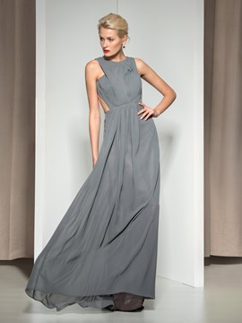 Ericdress Round Neck Pleats Long Evening Dress