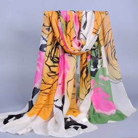 Big Flower Printed Velvet Scarf