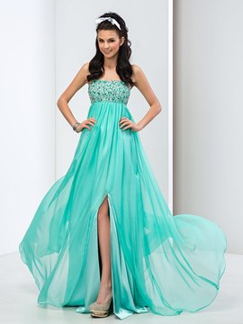Ericdress Strapless Beaded Sequins Front-Split Prom Dress