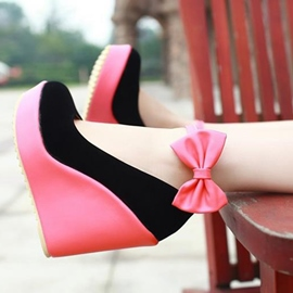 Ericdress Sweet Bowtie Patchwork Wedges