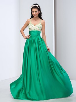 Ericdress Spaghetti Straps Criss-cross Beading Long Prom Dress