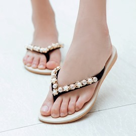Ericdress Beading Thong Flip-Flop Slippers