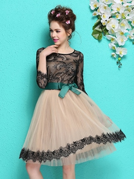 Ericdress A-Line 3/4 Length Sleeve Scoop Neck Lace Belt Homecoming Dress