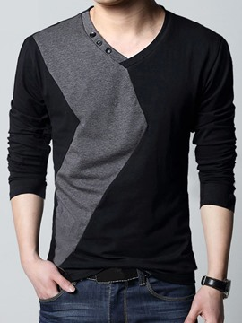 Ericdress Color Block V-Neck Men's T-Shirt