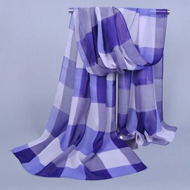 Big Checks Printed Chiffon Scarf