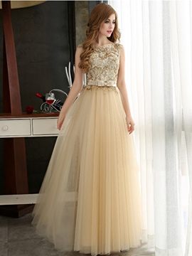 Ericdress A-Line Bowknot Appliques Long Evening Dress