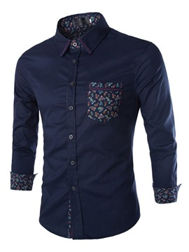 Ericdress Plus Size Pocket Printed Men's Shirt