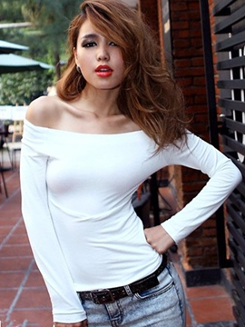 Ericdress Plain Off-the-Shoulder Sexy T-shirt