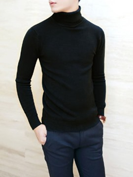 Ericdress Plain thickened High Collar Men's Sweater